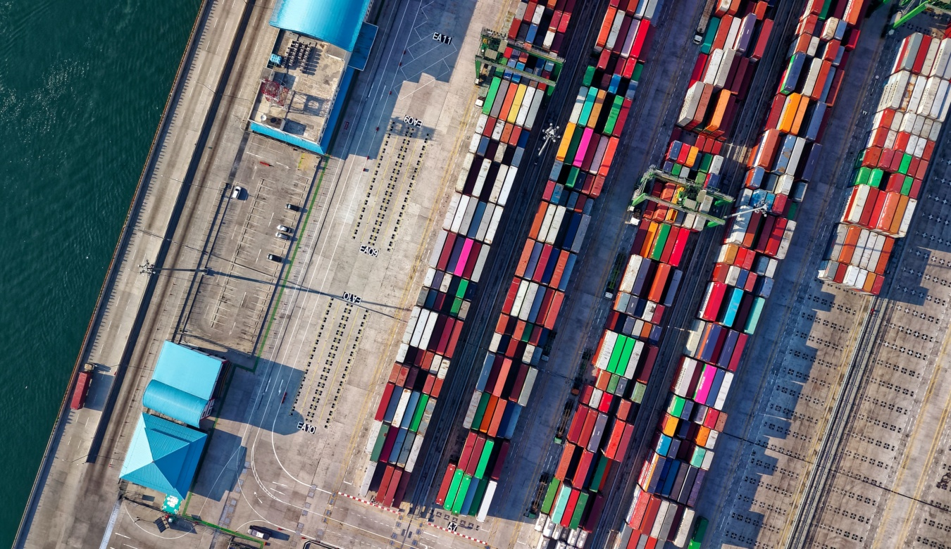 Aerial View of containers in port