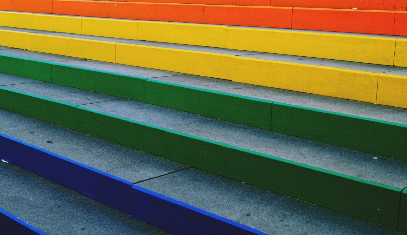 Rainbow painted concrete stairs